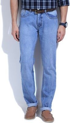 Get Newport Straight Fit Mens Blue Jeans at Flat 50% OFF discount offer