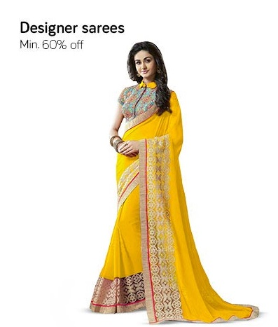Get Minimum 60% – 80% off on Designer Sarees discount offer