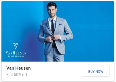Get FLAT 50% off on Van Heusen, V DOT Men's Clothing discount offer