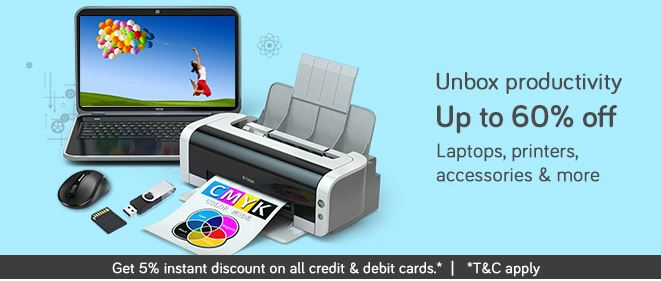 Get Upto 60% OFF on Laptops, Printers & Accessories !!! discount offer