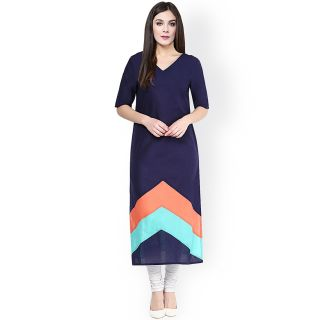 Daily Wear Navy Blue Cotton Semi Stitched Kurti 81% off discount offer