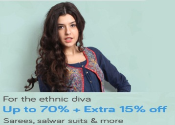 Upto 70% off on Women's Ethnic wear + Extra 15% off discount offer