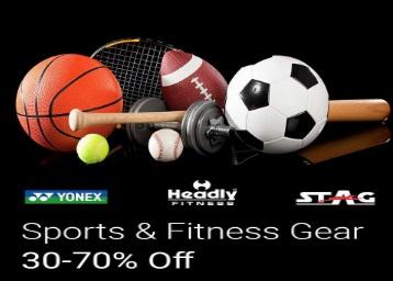 Sports & Fitness Gear – Min 30% – 70% off discount offer