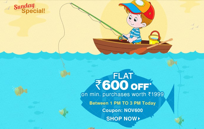 [Only For 2 Hours] Get Rs. 600 Off On Kids Wear & Accessories discount offer
