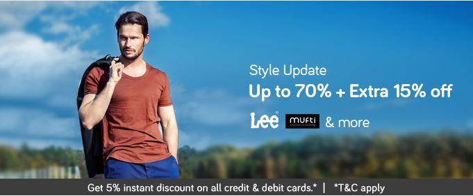 Get Upto 70% OFF on LEE, Mufti & More !!! discount offer