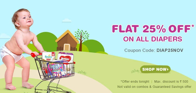 FLAT 25% off on all baby Diapers discount offer