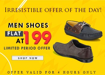 Men's Shoes at Flat Rs. 199 + Extra 20% Off on Online Payments discount offer