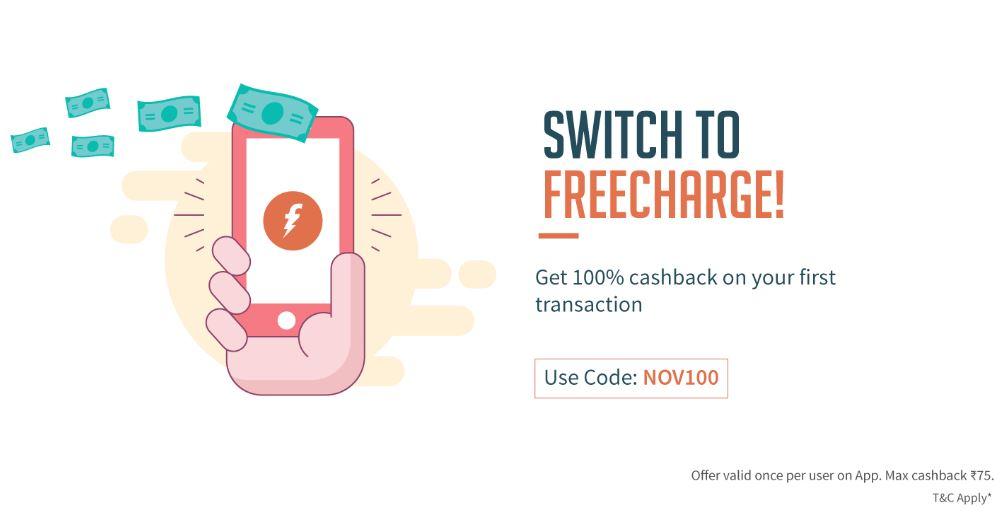 Get 100% Cashback on First Transaction !!! discount offer