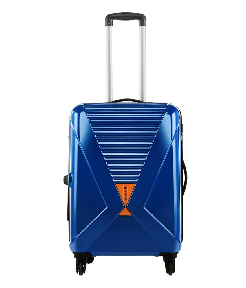 Safari X-Cross Blue 4 Wheel Hard Luggage Trolley @ 74% Off discount offer