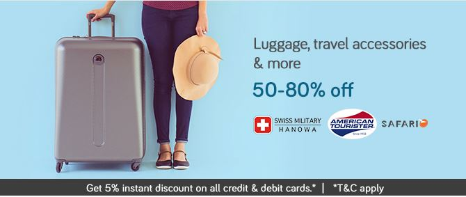 Get Up to 50% – 80% OFF on Luggage, Travel Accessories & more !!! discount offer