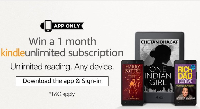 Get Free 1 Month Kindle Unlimited Subscription discount offer