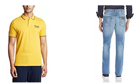 Wrangler Clothing at Flat 50% to 70% off starts at Rs. 318 Onwards discount offer