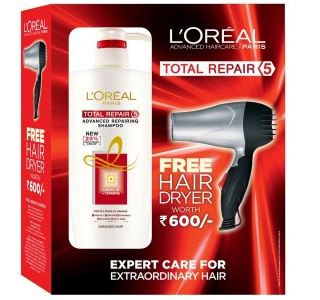 Limited Time Offer – L'Oreal Paris Total Repair 5 Shampoo + Free Hair Dryer discount offer
