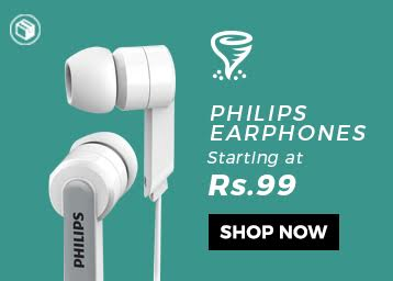 Typhoon Tuesdays - Buy Philips Earphones at Rs. 99 + Free Shipping discount offer