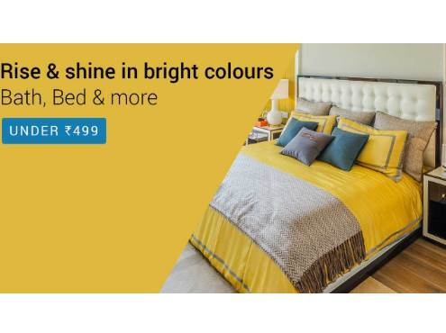 Bath, Bed and More Home Furnishing Range All Under Rs. 499 discount offer