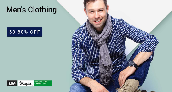 Buy Men Clothing Minimum 50 – 80% Off (Wrangler, USPA, Campus Sutra & More) discount offer