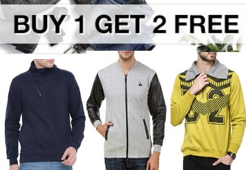 Buy Men's Winter Sweatshirts at Buy 1 Get 2 Free + Free shipping discount offer
