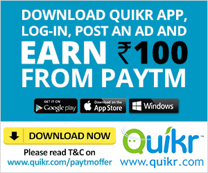Download Quikr App & Post any Ad & Get Rs  100 Cashback on