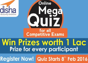 Register FREE for Online Mega Quiz and Win Prizes worth Rs