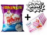 Mr. White Powder - 3KG + 1 KG FREE + Vivel Soap (Pack of 4) at Rs. 242