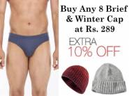 Buy Any 8 Brief & Winter Cap at Just Rs. 289 + Extra 10% OFF + Free Shipping