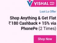 Flat Rs. 180 Cashback:- 15% Via PhonePe 2 Times[Bras at Loot Discount]