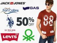 Get Everything at Minimum 50% OFF (FLYING MACHINE, LEVIS & More Clothing)