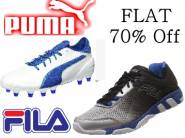 Flat 70% Off Puma & FILA Sports Footwear + 20% Cashback