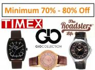 MIN. 70% -80% Off On Timex,Laurels & More + Flipkart Shipping