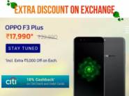 Biggest Exchange:- Oppo F3 Plus [6 GB, 64 GB] at Rs. 17990 + 10% Cashback
