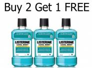 Mega Saver:- Listerine Cool Mint Mouthwash - 250ml (Buy 2 Get 1 FREE]