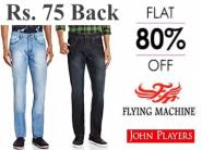VUDU, Flying Machine & More Jeans at Flat 80% off + Extra Rs. 75 Cashback