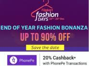 Offers Updated- Flipkart Fashion Days, Products at Up to 90% off + 20% Cashback