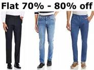 Mega Discounts - Top Brands Trousers at Flat 70-80% From Rs. 299 + Free Shipping