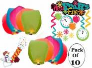 New Year Special - Skycandle Multicolour Set Of 10 Sky Lantern at just Rs.324