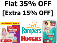 Diapers at Good Discount - Minimum 35% Off + Extra 15% Off + Rs. 800 Cashback