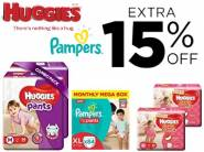 Diapers at Good Discount - Min. 35% Off + Extra 15% Off + Rs. 800 Cashback