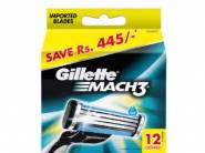 Lowest Ever:- Gillette Mach 3 Manual Shaving Razor Blades 12s pack