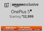 OnePlus 5T [6 GB + 64 GB] at Rs.32999 + Rs. 1500 ICICI Cashback