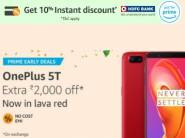 Rs. 2000 on Exchange:- OnePlus 5T [8 GB + 128 GB] + 10% Bank offer