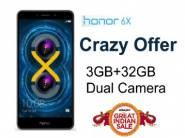 Big Offer - Honor 6X (3+32GB, Dual Cam) at Rs.7199 (HDFC) or Rs.7999