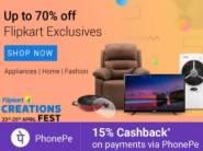 Flipkart Creations Fest : Upto 70% off + Extra 15% Cashback