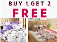Buy 1 Get 2 Free : Story@home Cotton Double Bedsheet