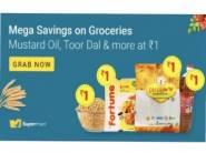 Supermart Sale: Groceries at Just Rs.1 + Extra 8% FKM Rewards