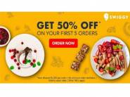 Grab 50% Off On First Five Swiggy Online Food Order