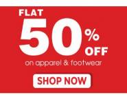 Super Sale:Flat 50% Off On Apparel & Footwear + Instant Discount