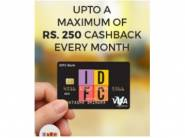 Get Upto Rs.250 Cashback Every Month With IDFC Card