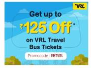 Enjoy 12% Discount & Up to Rs.125 on VRL Travels Bus Tickets
