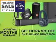 JBL Freedom Sale: Up To 60% Off + 10% Via Coupon + Rs. 200 - 400 FKM Cashback