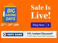 Live Now For All - Flipkart Big Saving Days Sale [ 10% HDFC Off + FKM Cashback ]